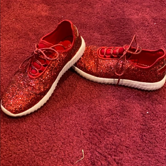 Shoes | Sparkly Red Tennis Shoes | Poshmark